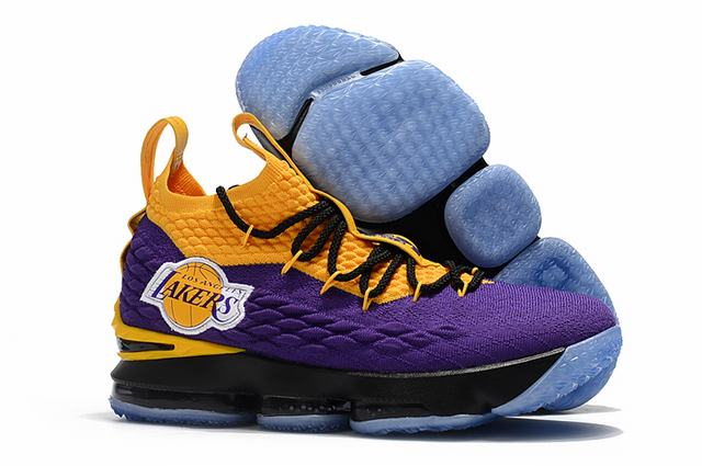 Nike Lebron James 15 Air Cushion Shoes Lakers Purple Yellow